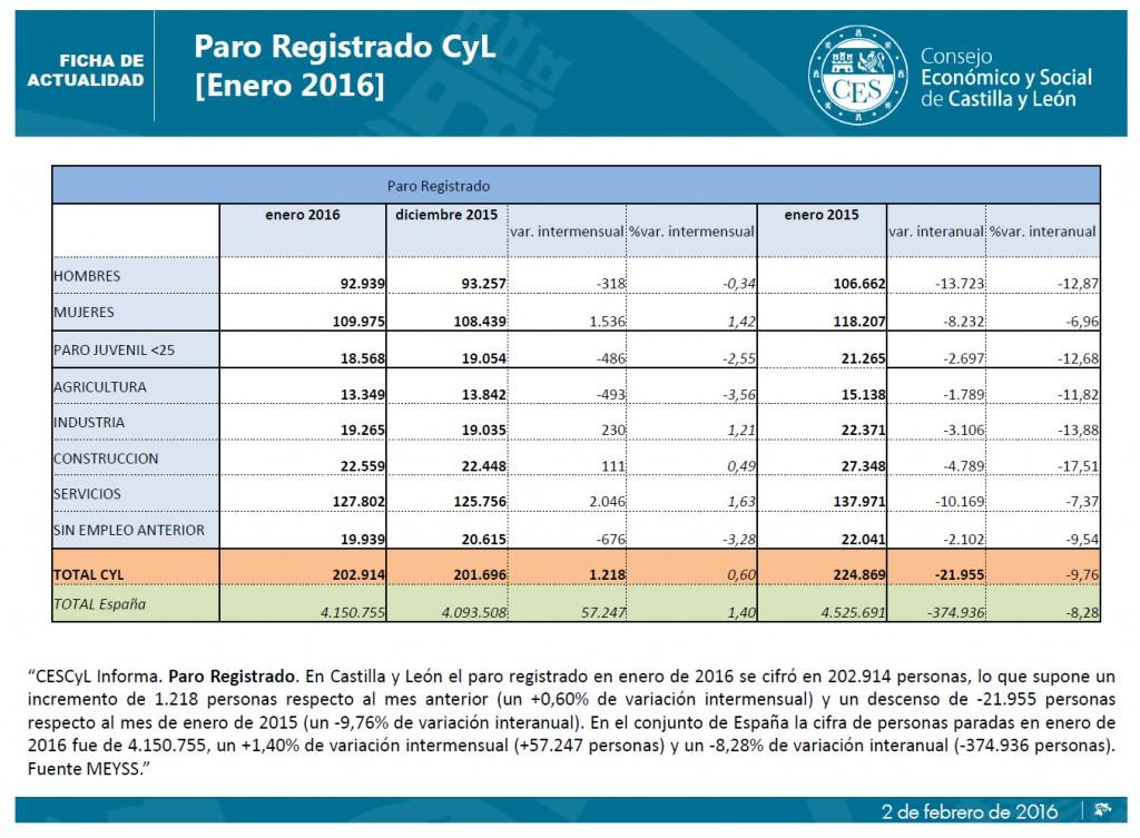 Paro Castilla y León Enero 2016