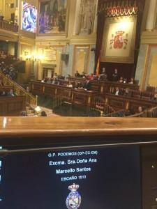 Vista del Congreso desde el escaño de la diputada por León de Podemos, Ana Marcello